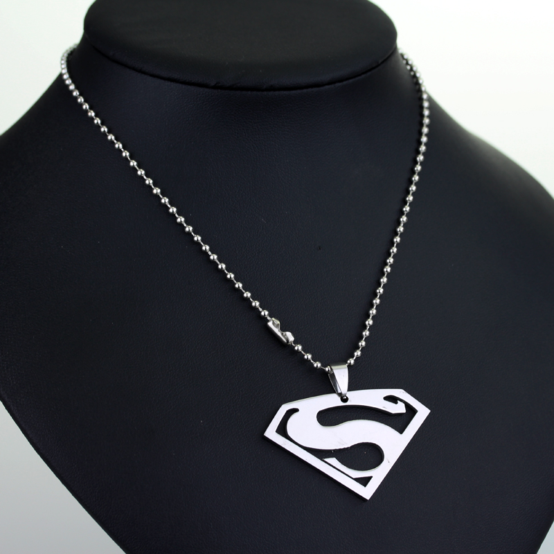 Movie Superhero Necklace Superman S Logo Pendant Necklaces Bead Chain Women Men Jewelry ...