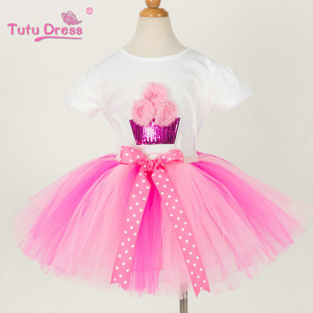 Tutu Skirt Girls Flower Tutu skirt+T-shirt Sets Child Girl Dance Party Prom Clothing For 2-12 Years Girl Drop Shipping lady bug girls t shirt set tutu skirt and headband girl tutu sets birthday festival party cosplay children s clothing pt57