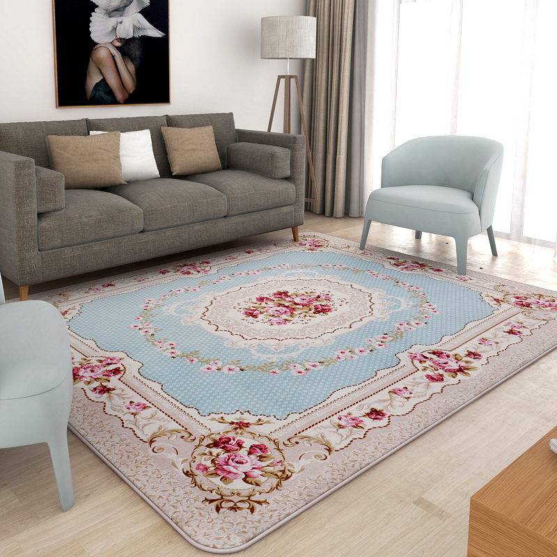 Honlaker European Pastoral Carpet Living Room Sofa Floor Mats Super Soft Coral Velvet Large Bedroom Rugs