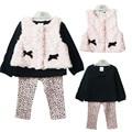 Inverno Do Bebê Meninas Roupas Definir: Colete + T-shirt + Calças Roupas 3-Piece Suit PrincessToddler Menina Outfits