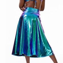 여성 반짝 이는 홀로그램 미디 스커트 높은 허리 A 링크 레이저 메탈릭 롱 스커트 여름 파티 클럽 축제 의상