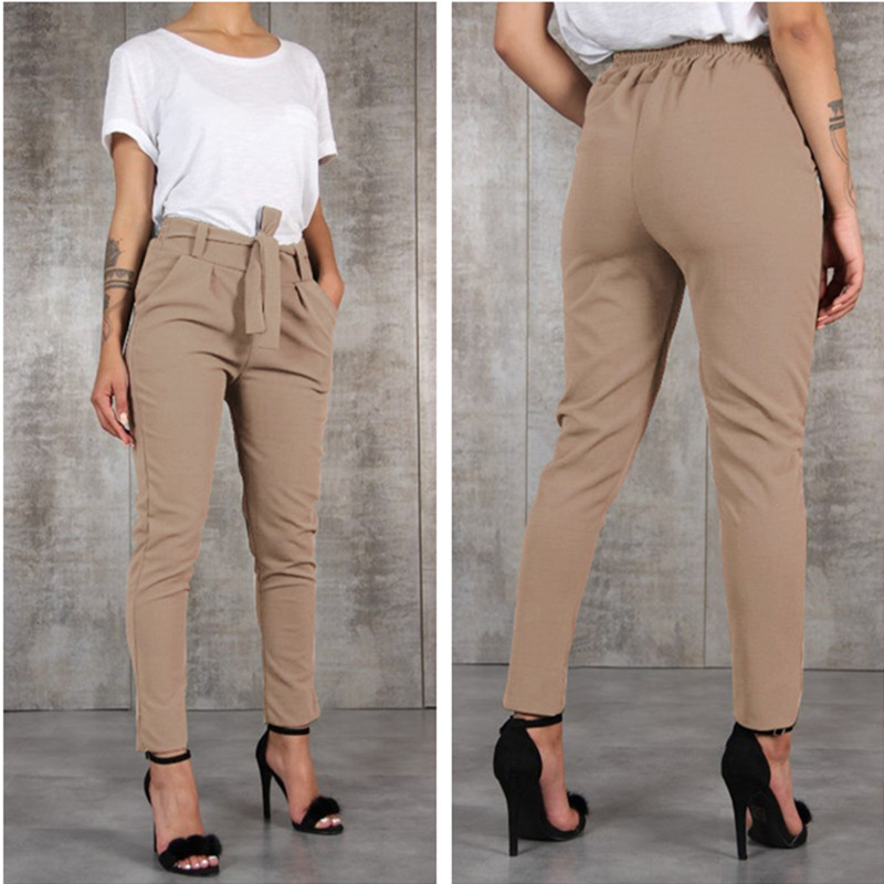 Borntogirl Casual Slim Chiffon Thin Pants For Women High Waist Black Khaki Green Pants #3