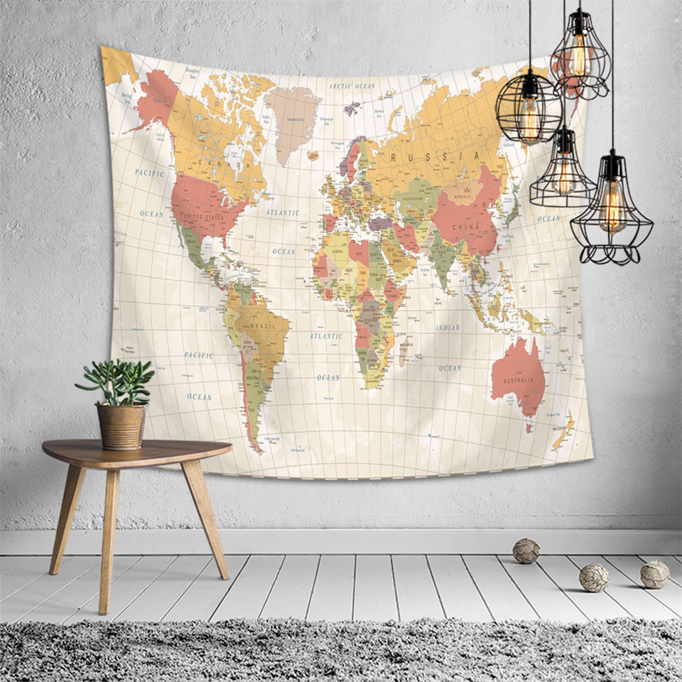 SOFTBATFY World Map Tapestry Polyester Wall Hanging Art Home Decor Tapestries
