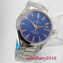 Luxury Fashion Men Corgeut 39mm Watch Sapphire Glass Date Automatic Military Blue Dial Stainless Steel Band Wrist Watch