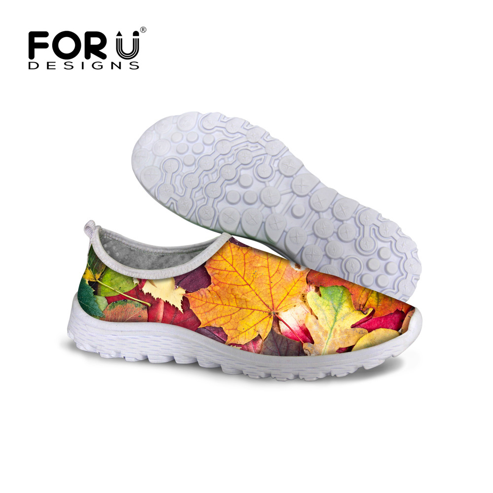2017 New Arrival Summer Fashion Beach Mesh Shoes For Women 3D Maple Leaves Printing Shoes Slip-on Network Lazy Shoes Girl Flats 6 mesh best price aperture 3 2mm titanium electrode mesh network for chemical filter sewage treatment sales 10cm 100cm