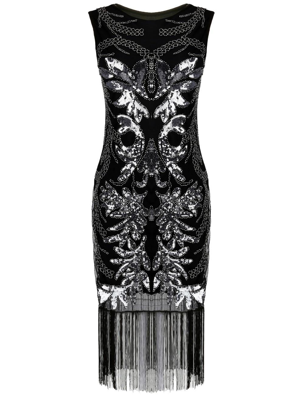 PrettyGuide Women's 1920s Gatsby Art Deco Sequin Beads Fringed Hem Fancy Inspired Flapper Dress Cocktail Party Dress