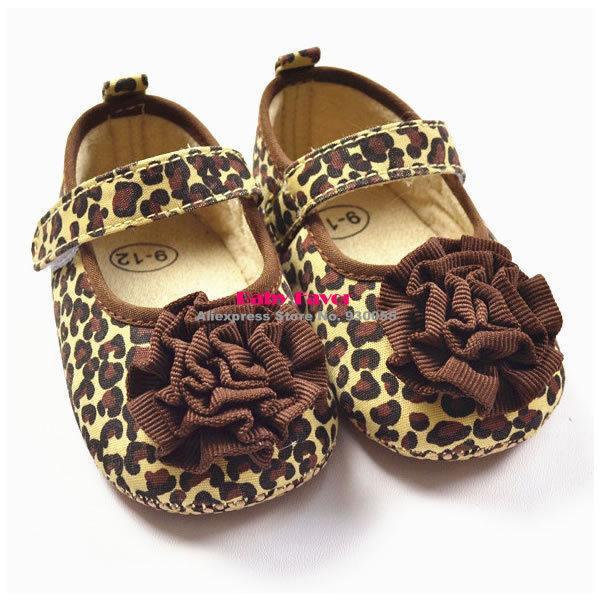 Crib-Shoes Baby-Girl Flower Prewalkers Leopard Brown Cute for Kidsa 1-Pair