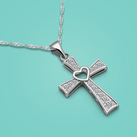 925 Sterling Silver Necklace Female Style Simple Style Cross Pendant Solid Silver Clavicle Necklace Lady Popular