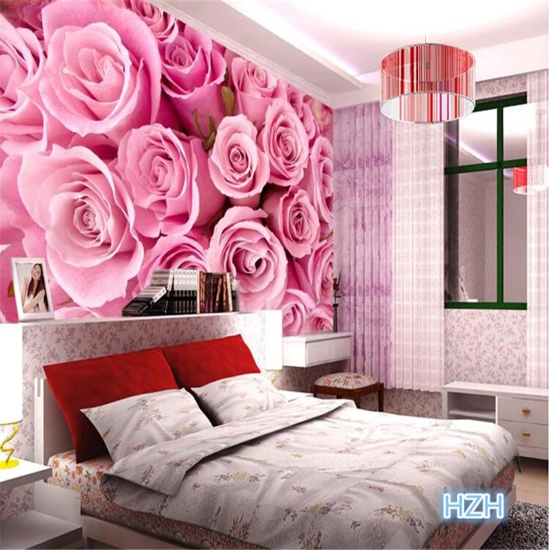 pink rose 3d flower tv romantic living backdrop modern mural wall marriage custom bedroom stereoscopic paper bed centophobe wallpapers murals