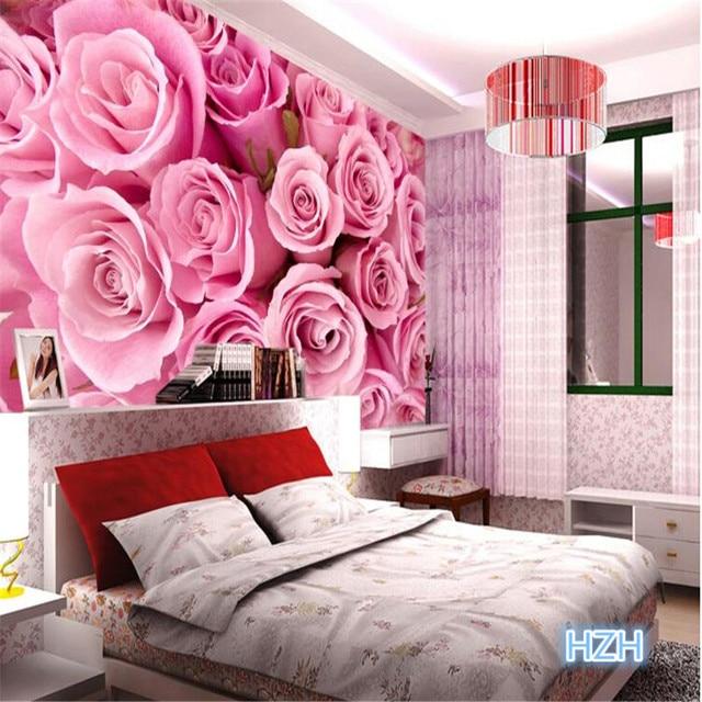 Quality Custom 3d photo wallpaper stereoscopic Romantic Pink Rose ...