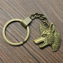 Keyring Wolf Head Keychain 33x29mm Antique Bronze Key Chain Party Souvenir Gifts For Women