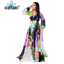 Rainbow Tie Dye Chiffon Maxi Dress Women Deep V Neck Long Lantern Sleeve Bohemian Dress Summer High Waist Sash Beach Dress bell sleeve contrast lace tie waist maxi dress