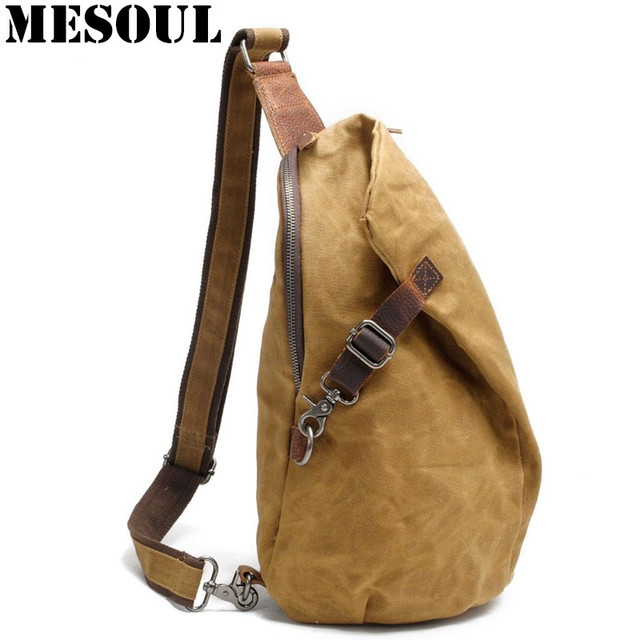 2017 New Chest Bag Vintage Canvas Men Shoulder Leisure Crossbody School Bags Hobo Style Small
