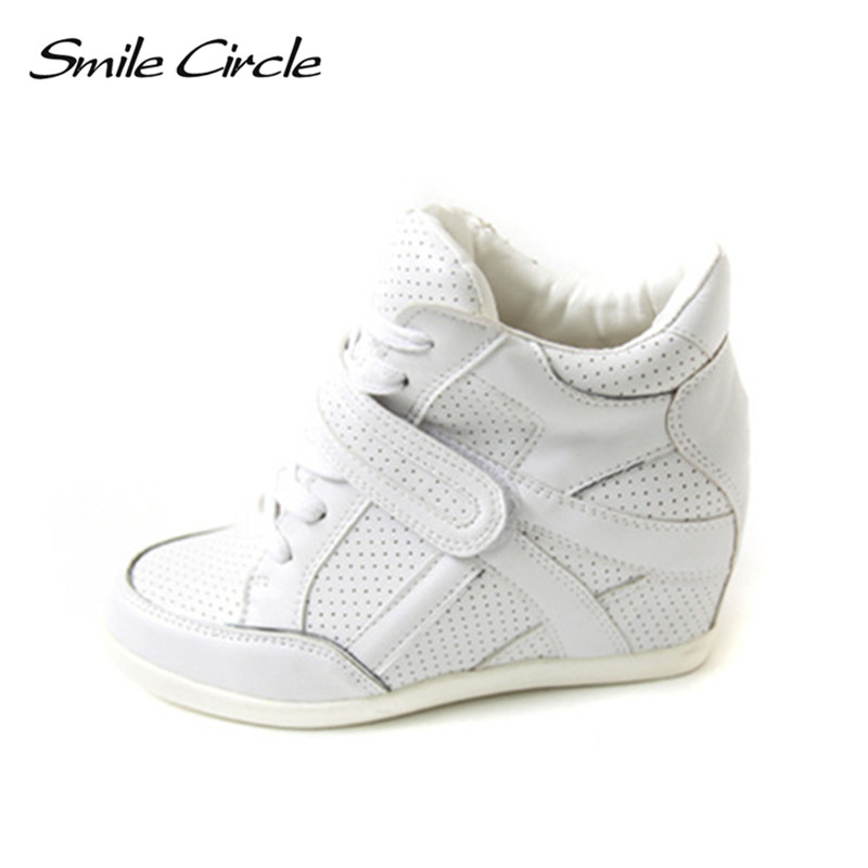 Smile Circle Women Sneakers Wedge Lace Up Suede High Top Sneakers Women 6Cm High Heel -1828