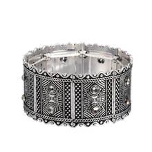 Женский винтажный браслет с серебряным покрытием широкий эластичный