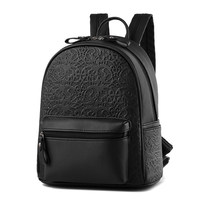 Edgy Embossing Korean Style Simple Zipper Backpack Women Preppy Style Stylish Schoolbag Female Daypack Designer PU