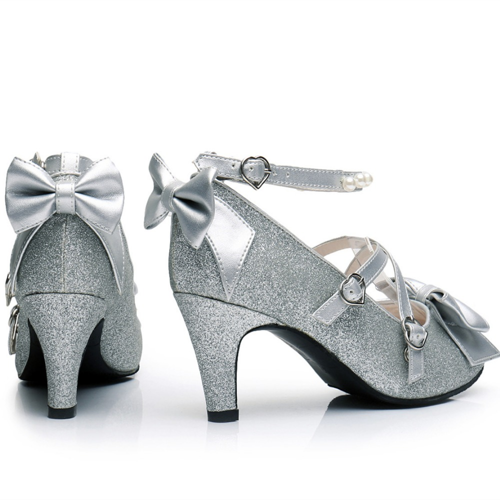 Ayakk.'ten Kadın Pompaları'de Kadın Parlak Gümüş/Altın Pullu Pompaları Criss cross Inci Ayak Bileği Kayışı Prenses Lolita Ayakkabı'da  Grup 2