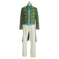 2019 Movie Cinderella Prince Charming Green Costume Richard Court Party Dancing Cosplay Full set