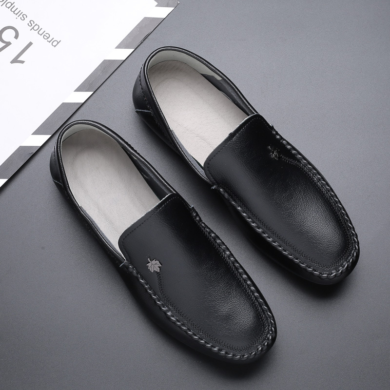 2019 New Genuine Leather Men Shoes Black Mens Loafers Shoes Slip on Flat Footwear Male Casual