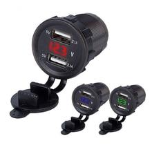 Автомобильный двойной USB адаптер для зарядного устройства светодиодный дисплей С Пылезащитным чехлом розетка для автомобиля мотоцикла водонепроницаемый USB быстрая зарядка