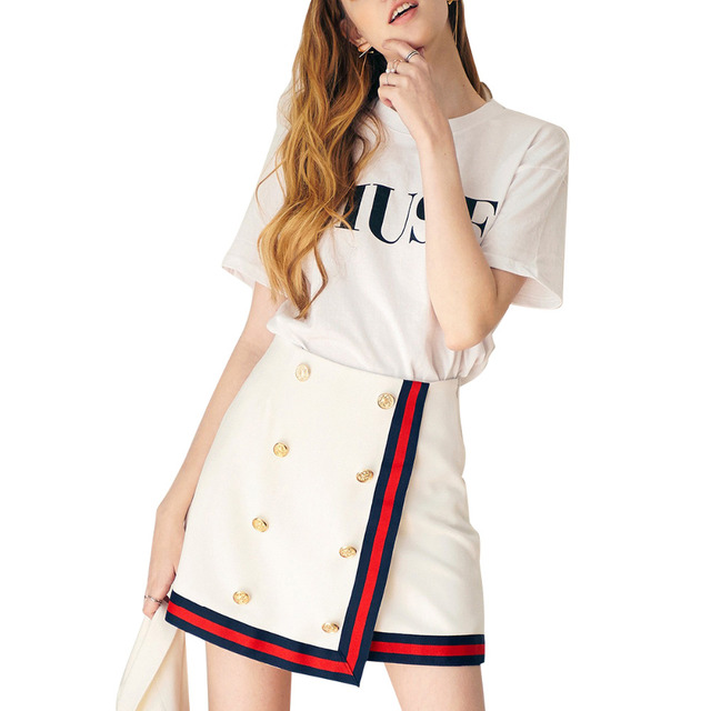 0c4a206eca10 Navy blue red piping white high waist button down wrap mini skirts for women  ladies stylish simple slim fit pencil skirts
