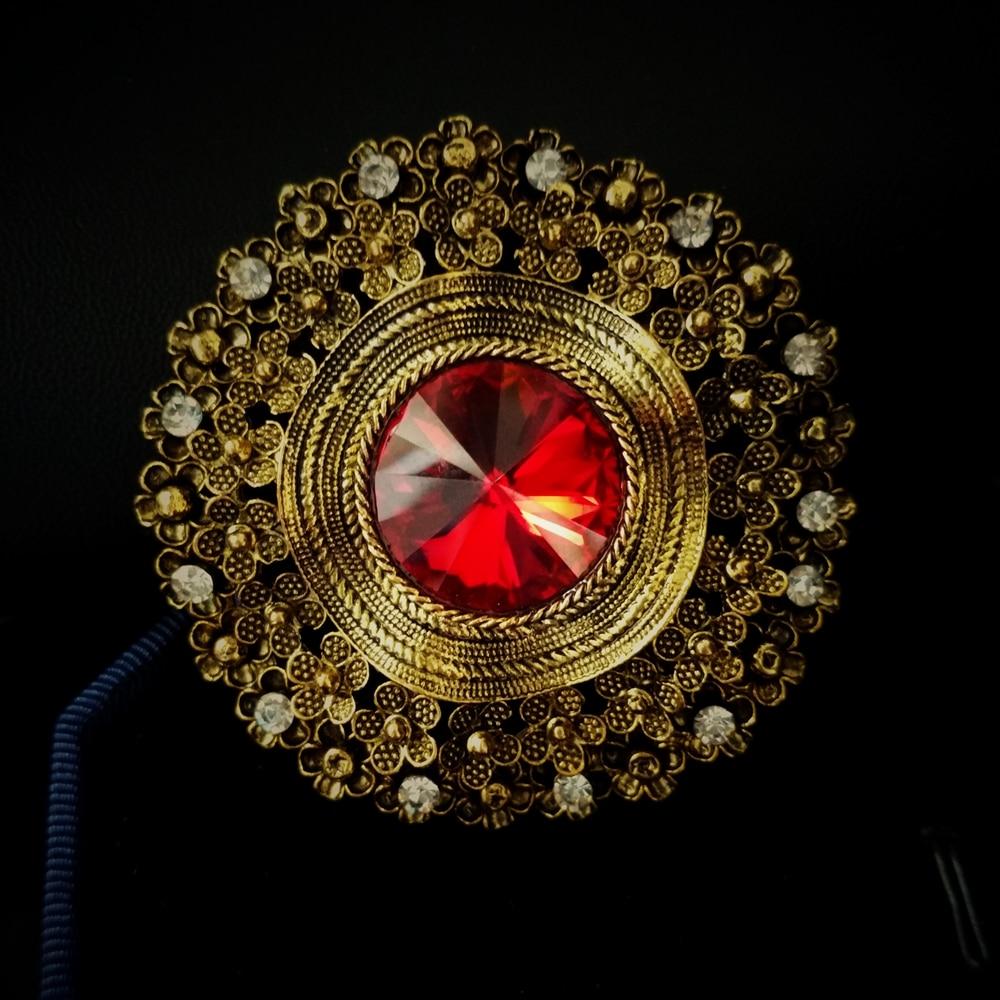 Edwardian Schmuck gewölbten roten Kristall Stein Runde Broschen - Modeschmuck - Foto 5