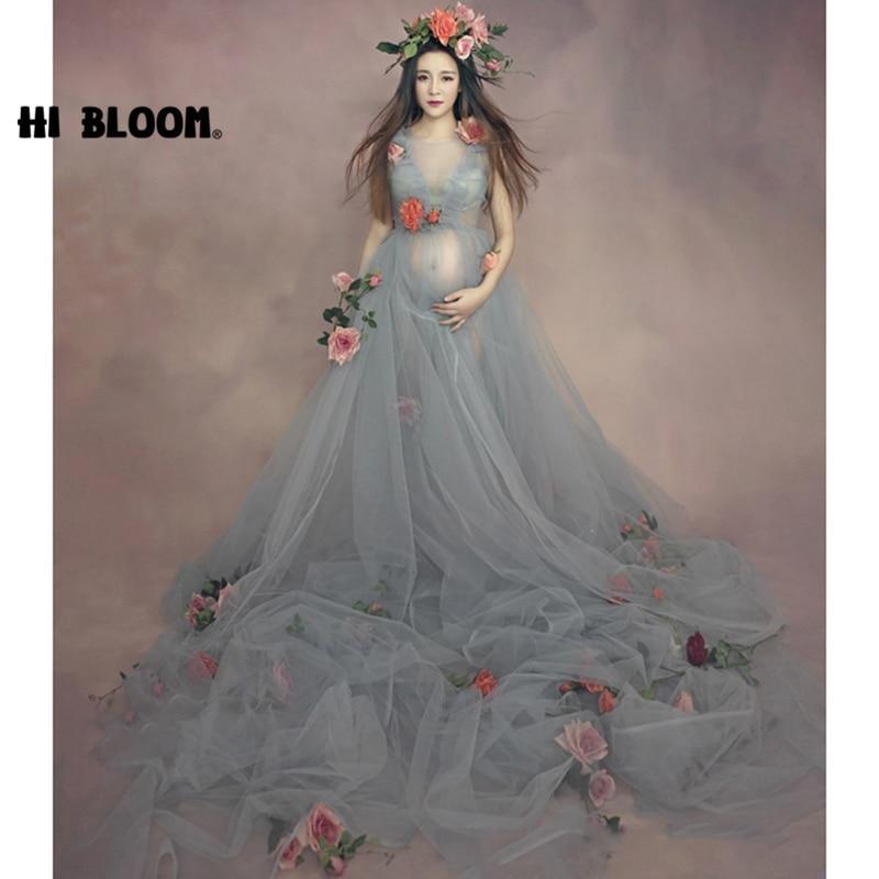 Pregnant Maternity Women Fashion Photography Props Romantic Floral Elegant long Fairy Trailing Dress Photo Shoot Shower