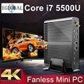 Окна Mini pc i7 i7 4500U 5500U Barebone HTPC Intel Nuc Безвентиляторный Компьютер Бродуэлла Видеокарта HD 5500 300 М Wifi