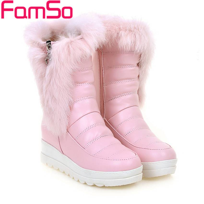 ФОТО Big Size 34-43 2017 new top Fashion Women's Boots Black Pink White Riding Boots Zipper pu Winter keep Warm Snow Boots ZWB4304