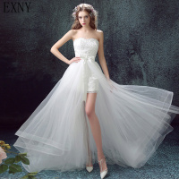 EXNY Two Pieces Style 2019 White Lace Short Wedding Dress With Detachable Tulle Train Bridal Gown Vestido De Novia
