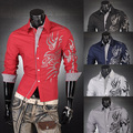Mens Fashion Cotton Designer Dragon Pattern Cross Line Slim Fit Dress man Shirts Tops Western Casual S~XXL  Z001