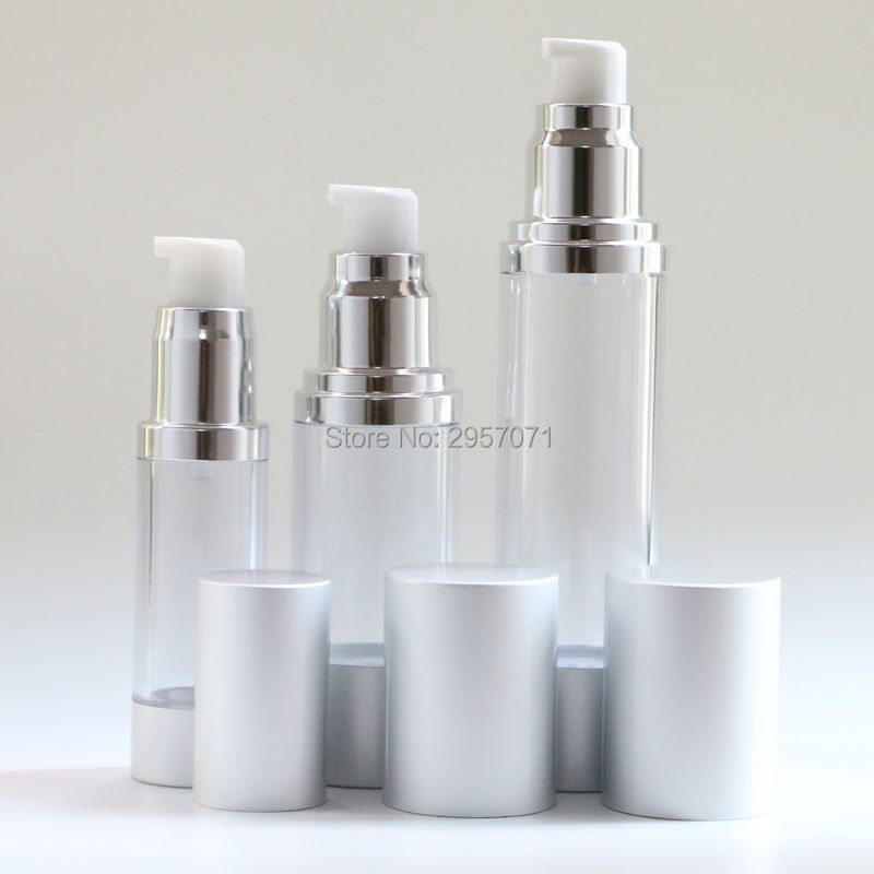 Silver High Quality Refillable Bottles Beauty Portable Airless Pump Dispenser Bottle For Travel Lotion 15ml 50ml Empty Container