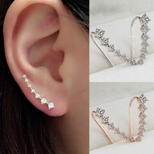 Sale Women Lady Fashion Elegant Silvery Golden Rhinestone Crystal Ear Hook Earrings Jewelry Gift elegant decoration acylic rhinestone earrings pendant set pink golden