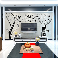 Nordic Style Tree And Deer Crystal Wall Sticker Art 3D Decals Poster Wall Stickers For Living Room TV Background Home Decor
