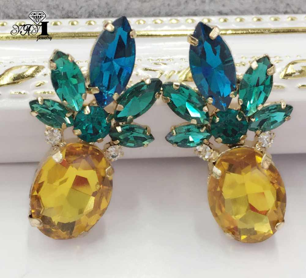 YaYi Jewelry New Yellow Glass  Rhinestone Dangle Crystal Earring Women's Fashion Ancient Silver Color Gem Earrings Gift 1475