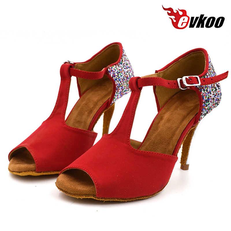 Evkoodance 2017 New Style Red Nubuck Com Glitter 8.5 cm Altura Do Salto Das Mulheres Latino sapatos de Dança Sapatos Confortáveis Evkoo-442