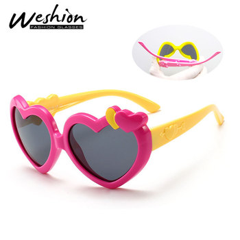 Lovely Heart Sunglasses Kids Polarized For Girl Frame Retro Fashion Glasses TR90 Soft Safe Eyewear Children Shades UV400
