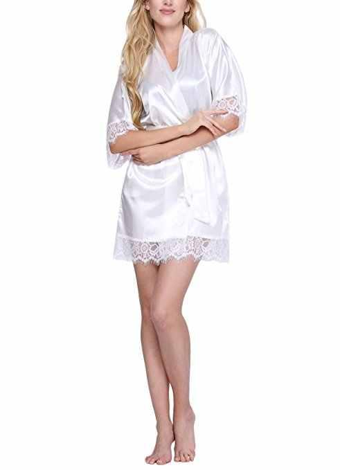 مثير الحرير رداء الحرير مبذل النساء قصيرة العروس الدانتيل الزفاف كيمونو البشكير الصيف العروسة نوم زائد الحجم peignoi