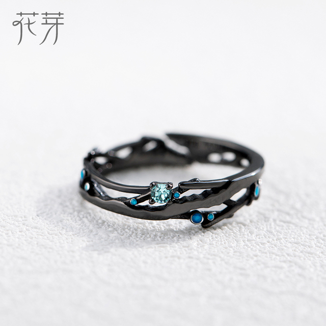 Thaya CZ Milky Way Black Rings Blue Bright Cubic Zirconia Rings 925 Silver Jewelry for Women Lover Vintage Bohemian Retro Gift 2