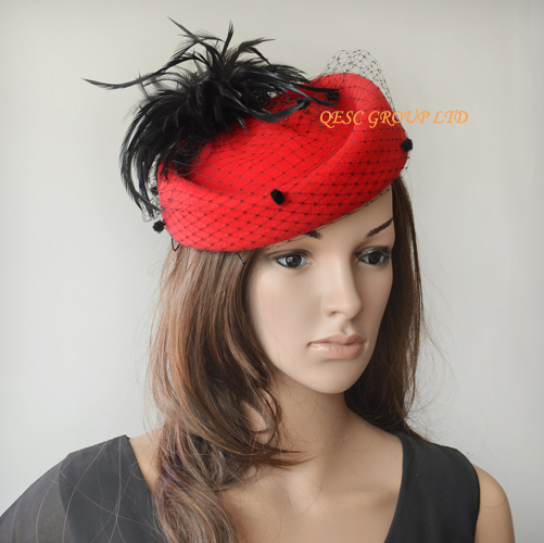4 colors.100% шерсть фетровая шляпа/шапка для зимы гонок Свадьба Кентукки Дерби, перья, для девочки; горошек; вуалирование