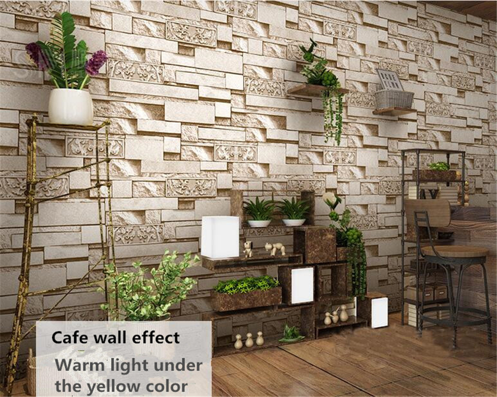 Beibehang 3D Stereo Brick Wall Paper Features Hot Pot Restaurant Hotel Clothing Store Embossed Papel De Parede 3d Wallpaper