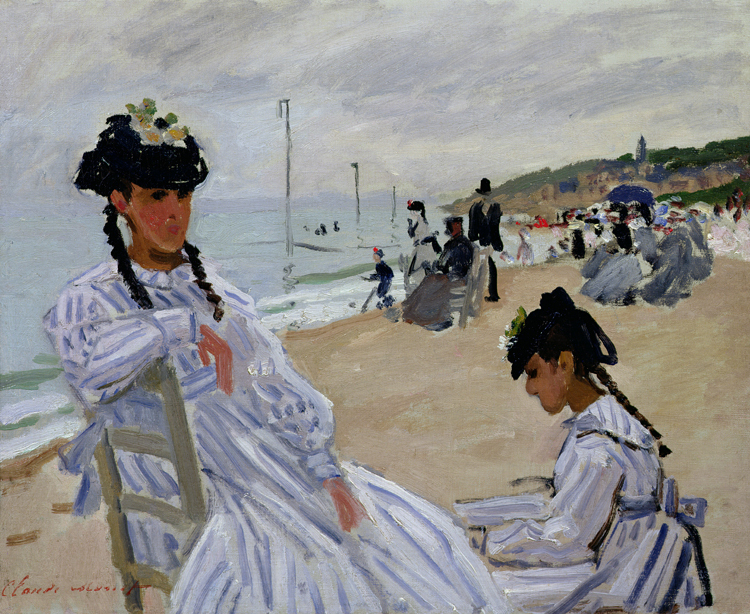 Scenery framesless canvas painting masterpiece reproduction Claude Monet The Beach at Trouville, 1870-71
