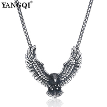 YANGQI Stainless Steel Flying Eagle Pendant Necklace Hip Hop Punk Statement Necklace Antique Silver Color Bird Animal Jewelry