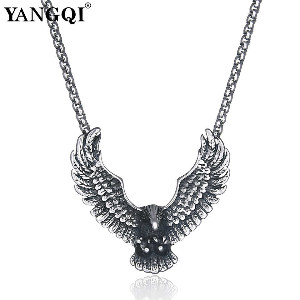 YANGQI stal nierdzewna latający orzeł naszyjnik Hip Hop Punk komunikat naszyjnik antyczny srebrny kolorowy ptaszek biżuteria dla zwierząt