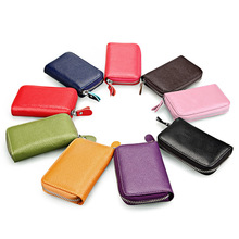TRASSORY Business Genuine Leather Card Wallet Zipper Purse Credit Holder for Women with 11 Slots