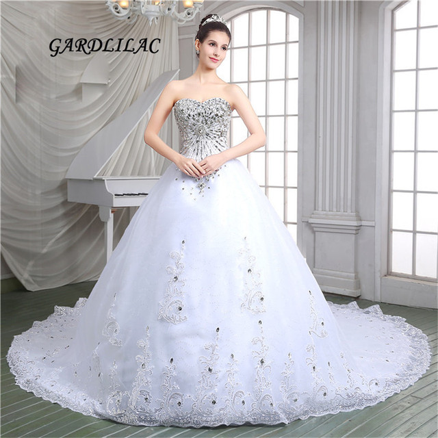Luxurious White Ball Gown Wedding Dresses 2017 Tulle With Silver Lace Liques Crystal Party