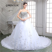 Luxurious White Ball Gown Wedding Dresses 2017 Tulle with Silver Lace Appliques Crystal Party