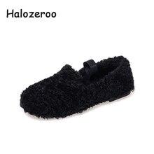 361b4793 Halozeroo nuevo bebé de invierno de piel de negro zapatos chico holgazán  suave de los niños de moda cálida marca de pisos zapato.