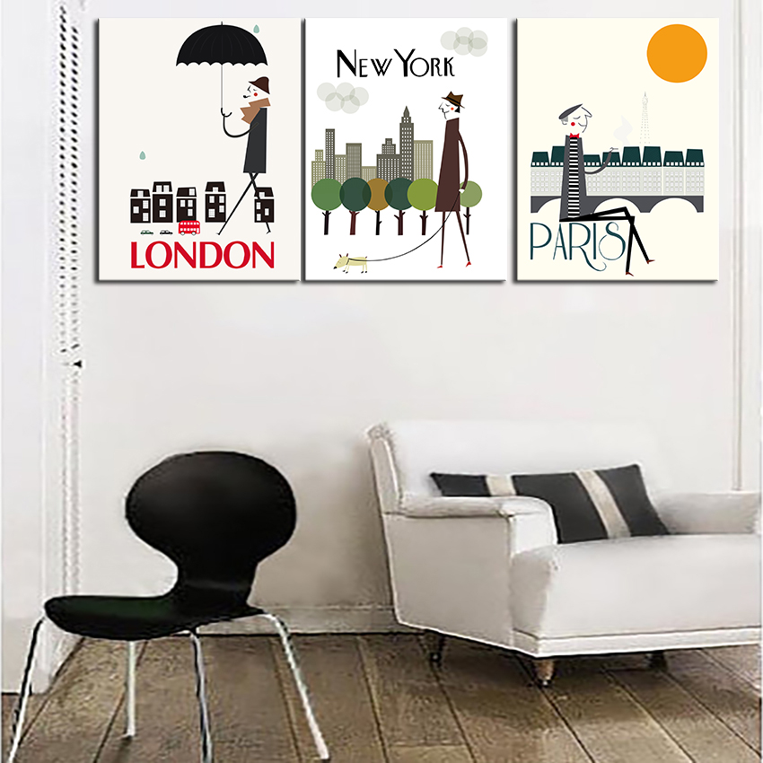 Aliexpress Com Buy 3 Pieces Wall Art New York City: NEW FASHION MODERN HUGE WALL ART OIL PAINTING ON CANVAS