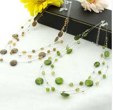Продвижение свежее летнее корейское высококачественное многослойное Опаловое короткое дизайнерское ожерелье-цепочка N2255